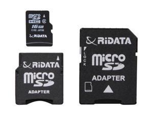 RiDATA Lightning Series 16GB microSDHC Flash Card w/2 Adapters (SD/Mini SD/Mini SDHC)