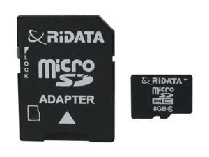 RiDATA 8GB microSDHC MLC Flash Card w/ 1 SD Adapter Model RDMICSDHC8G-LIG-1
