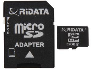 RiDATA 32GB microSDHC Flash Card w/1 Adapter Model RDMICSDHC32G-LIG4