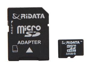 RiDATA 32GB microSDHC Flash Card with 1 Adapter Model RDMICSDHC32G-LIG10