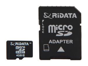 RiDATA 4GB microSDHC Flash Card with SD Adapter
