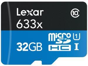 Lexar 32GB High-Performance 633x microSDHC UHS-I/U1 Class 10 Memory Card w/USB 3.0  Reader (LSDMI32GBB1NL633R)