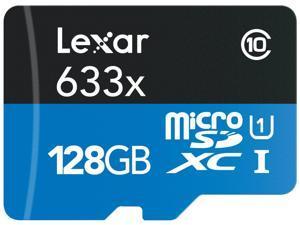 Lexar 128GB High-Performance 633x microSDXC UHS-I/U1 Class 10 Memory Card w/USB 3.0  Reader (LSDMI128B1NL633R)