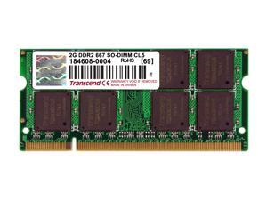 Transcend 2GB 200-Pin DDR2 SO-DIMM DDR2 667 (PC2 5300) Laptop Memory Model JM667QSU-2G