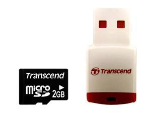 Transcend 2GB MicroSD Flash Card with P3 card reader Model TS2GUSD-P3