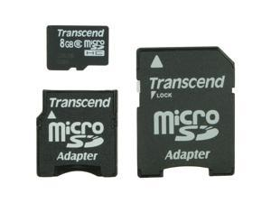 Transcend 8GB microSDHC Flash Card with mini & SD Adapter