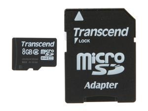 Transcend 8GB microSDHC Flash Card with SD Adapter