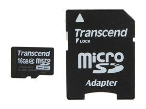 Transcend 16GB microSDHC Flash Card with Adapter Model TS16GUSDHC4