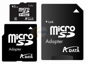 ADATA 8GB Micro SDHC Flash Card w/ SD and miniSD adapters