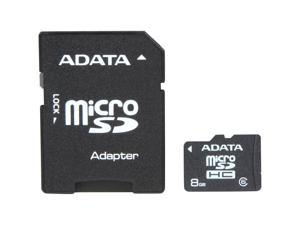 ADATA 8GB microSDHC Flash Card with SD adaptor Model AUSDH8GCL6-RA1