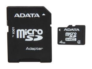 ADATA Speedy 4GB microSDHC Flash Card w/ SD Adapter Model AUSDH4GCL4-RA1