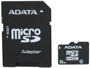 ADATA 8GB microSDHC Flash Card with Adapter Model AUSDH8GCL4-RA1
