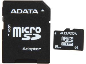 ADATA 8GB Class 10 Micro SDHC Flash Card with SD adaptor