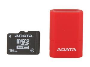 ADATA 16GB Class 4 Micro SDHC Flash Card with V3 USB Reader (Red)
