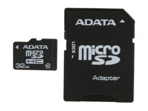 ADATA 32GB microSDHC Flash Card with Adapter Model AUSDH32GCL10-RA1