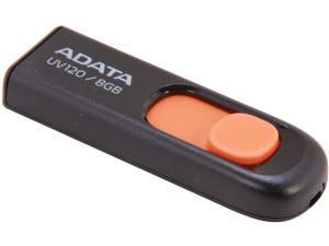 ADATA DashDrive UV120 8GB Capless Sliding USB 2.0 Flash Drive (Black/Orange)