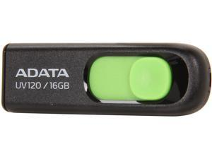 ADATA DashDrive UV120 16GB Capless Sliding USB 2.0 Flash Drive (Black/Green)