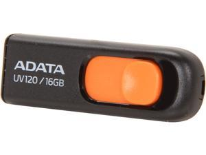 ADATA DashDrive UV120 16GB Capless Sliding USB 2.0 Flash Drive (Black/Orange)