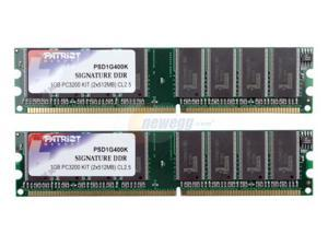 Patriot Signature 1GB (2 x 512MB) 184-Pin DDR SDRAM DDR 400 (PC 3200) Dual Channel Kit System Memory Model PSD1G400K