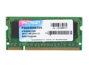 Patriot 4GB 200-Pin DDR2 SO-DIMM DDR2 667 (PC2 5300) Laptop Memory Model PSD24G6672S