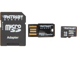 Patriot LX Series 16GB Class 10 Micro SDHC Flash Card Kit With SD & USB 2.0 Adapter Model PSF16GMCSHC10UK