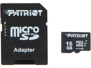 Patriot LX Pro Series 16GB microSDHC Flash Card Model PSF16GMCSHC10BK