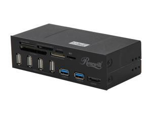 "Rosewill RDCR-11004 - Data Hub for 5.25"" Drive Bays - Two USB 3.0 Ports and Main Connector, Four USB 2.0 Ports, eSATA, Internal Multiple Card Reader"