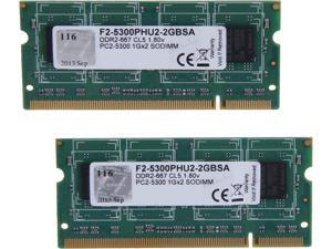 G.SKILL 2GB (2 x 1GB) 200-Pin DDR2 SO-DIMM DDR2 667 (PC2 5300) Dual Channel Kit Laptop Memory Model F2-5300PHU2-2GBSA