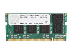 G.SKILL 1GB 200-Pin DDR SO-DIMM DDR 333 (PC 2700) Laptop Memory Model F1-2700CL3S-1GBSA
