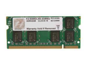 G.SKILL 2GB 200-Pin DDR2 SO-DIMM DDR2 667 (PC2 5300) Laptop Memory Model F2-5300CL5S-2GBSQ