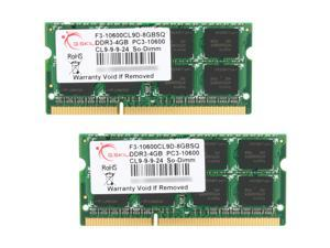 G.SKILL 8GB (2 x 4GB) 204-Pin DDR3 SO-DIMM DDR3 1333 (PC3 10600) Laptop Memory Model F3-10600CL9D-8GBSQ