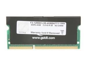 G.SKILL 4GB 204-Pin DDR3 SO-DIMM DDR3 1600 (PC3 12800) Laptop Memory Model F3-12800CL9S-4GBSK