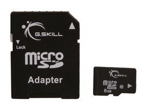 G.SKILL 8GB microSDHC Flash Card w/ SD Adapter Model FF-TSDG8GA-C10