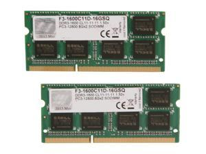 G.SKILL 16GB (2 x 8G) 204-Pin DDR3 SO-DIMM DDR3 1600 (PC3 12800) Laptop Memory Model F3-1600C11D-16GSQ