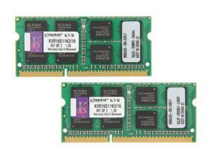 Kingston 16GB (2 x 8G) 204-Pin DDR3 SO-DIMM DDR3 1600 Laptop Memory Model KVR16S11K2/16