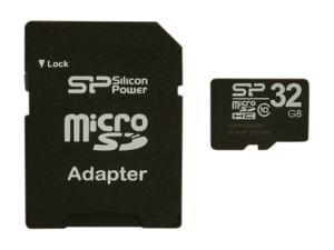 Silicon Power 32GB microSDHC Flash Card Model SP032GBSTH010V10-SP
