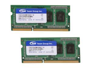 Team 4GB (2 x 2GB) 204-Pin DDR3 SO-DIMM DDR3 1066 Laptop Memory Model TSD34096M1066C7DC-E
