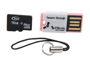 Team 16GB microSDHC Flash Card with USB Card Reader (Pink)