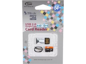 Team Xtreem 64GB microSDXC Flash Card With Card Reader Model TUSDX64GUHS29