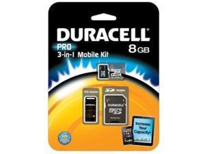 Duracell 8GB microSDHC Flash Card Model DU-3IN1C1008G-R