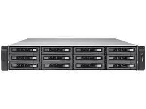 QNAP 12-Bay 10GbE iSCSI NAS, 2U, SATA 6G, 4 x 1GbE, 2 x 10GbE (SFP+), 40GbE-ready, Redundant PSU