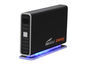 "Eagle Tech 2TB USB 2.0 3.5"" External Hard Drive with Blue LED base Black"