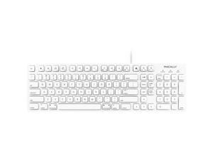 macally 103 Key Full-Size USB Keyboard with Short-Cut Keys White Keyboard
