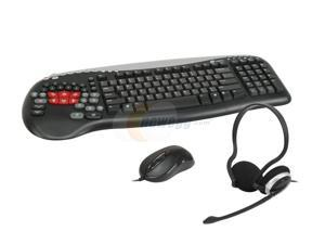 Ideazon Black Wired Keyboard, GM-200 Mouse and Headset Gaming Pack