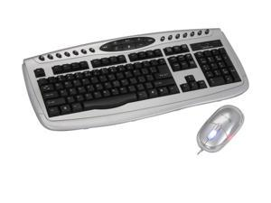 APEVIA KI-COMBO-SV Black/Silver Wired Keyboard and Optical Scroll Mouse Combo Set