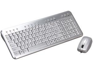 QUMAX Gemini N2AM Silver Wired Aluminum Keyboard and Mouse Combo