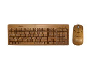 Impecca KBB500C Wired Bamboo Custom Carved Designer Keyboard and Mouse Combo