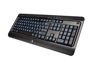 AZIO Large Print Tri-Color Illuminated Keyboard KB505U Black USB Wired Ergonomic Keyboard