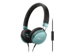 PHILIPS Teal SHL5305TL/28 3.5mm Connector FIXIE Stereo Headphone W/ Mic