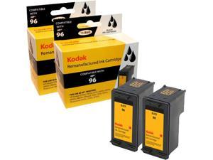 KODAK Remanufactured Ink Cartridge Combo Pack Compatible With HP 96 (C9348FN#140) High-Yield 2 Black Cartridges
